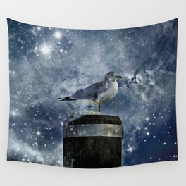 One Legged Seagull in a Snowstorm with Stars in His Eyes Wall Tapestry