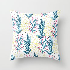 bright flowers. Illustration, pattern, flowers, floral, print,  Throw Pillow