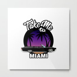 Take me to Miami. Ganster car with palms beach sun. Miami automotive travel illustration. Metal Print