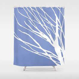 Tree Silhouette Periwinkle Blues Shower Curtain