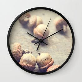Autumn Acorns Wall Clock