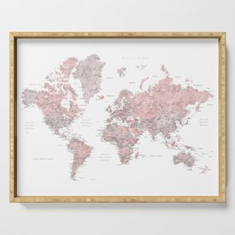 Dusty pink and grey detailed watercolor world map Serving Tray