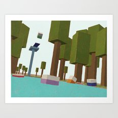Cube Family at the Pool Art Print