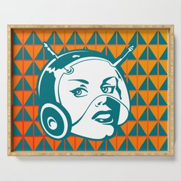 Faces: SciFi lady on a teal and orange pattern background Serving Tray