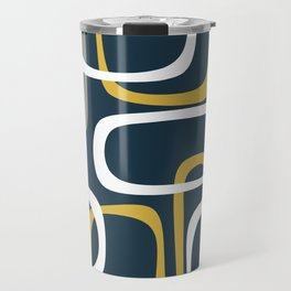 Mid Century Modern Loops Pattern in Light Mustard Yellow, Navy Blue, Gray, and White Travel Mug