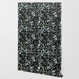 Black Eucalyptus Pattern Wallpaper