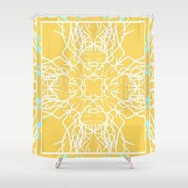 Mustard and White Neon Boho Mandala Shower Curtain