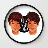tegan and sara Wall Clocks featuring Tegan and Sara by Cas.