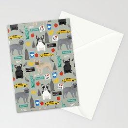 French Bulldog new york city tourist big apple dog breed pet friendly designs Stationery Cards