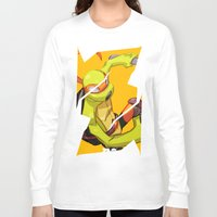 mike wrobel Long Sleeve T-shirts featuring Mike TMNT by zeoarts
