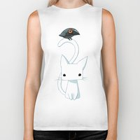 hello Biker Tanks featuring Cat and Raven by Freeminds