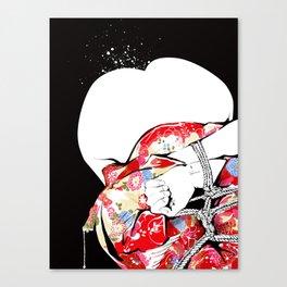 Woman wears a traditional kimono, Body tied by rope, Shibari, Japanese BDSM art, Fashion illusration Canvas Print
