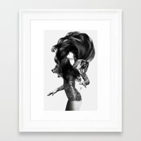 feathers Framed Art Prints featuring Bear #3 by Jenny Liz Rome