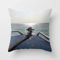 thailand Throw Pillows featuring Thailand Boatride by Plutonian Oatmeal