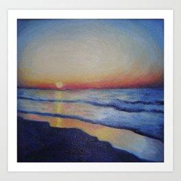 Dwindling Light Above The Ocean Art Print