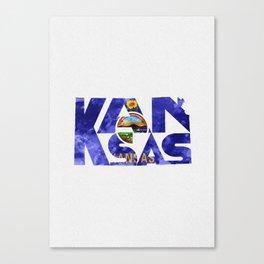 Kansas Typographic Flag Map Art Canvas Print