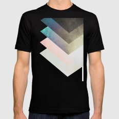 Geometric Layers Black LARGE Mens Fitted Tee