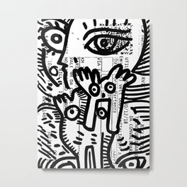 Creatures Graffiti Black and White on French Train Ticket Metal Print