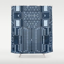 Blue Geek Motherboard Circuit Pattern Shower Curtain