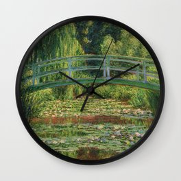 The Japanese Footbridge and the Water Lily Pool - Claude Monet Wall Clock