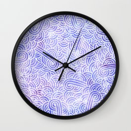Lavender and white swirls doodles Wall Clock