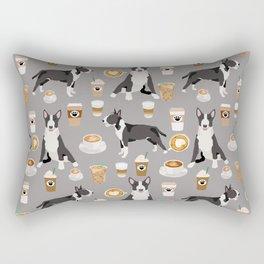 Bull Terrier coffee latte cafe dog breed cute custom pet portrait pattern Rectangular Pillow