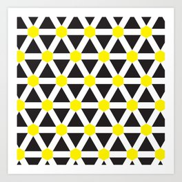 Geometric Pattern 116 (Yellow cross) Art Print