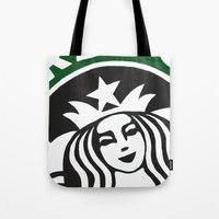 starbucks Tote Bags featuring Starbucks Abstract by Tiffany Taimoorazy