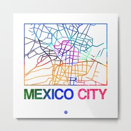 Mexico City Watercolor Street Map Metal Print