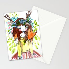 Girl and fox Stationery Cards