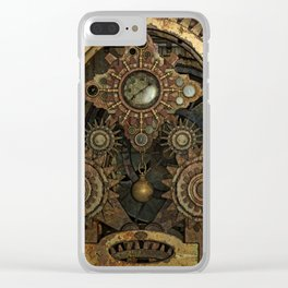 Rusty Vintage Steampunk Gears Clear iPhone Case