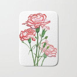 pink and red carnation watercolor painting Bath Mat
