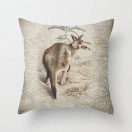 Australia Vintage Kangaroo Throw Pillow