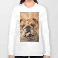 english bulldog Long Sleeve T-shirts featuring English Bulldog, Great Britain flag ! by Life on White Creative