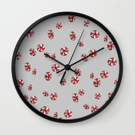 Peppermint Candy in Grey Wall Clock