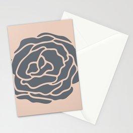 Minimalist Flower Navy Gray on Blush Pink Stationery Cards