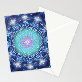 Flower Of Life Mandala Fractal turquoise Stationery Cards