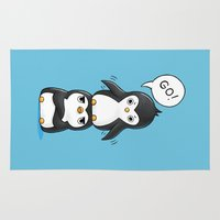 penguins Area & Throw Rugs featuring Penguins by Freeminds