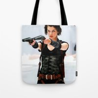 resident evil Tote Bags featuring Milla Jovovich @ Resident Evil by Gabriel T Toro