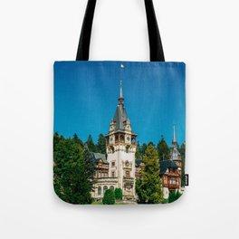 Peles Palace In Transylvania, Architecture Photography, Medieval Castle, Mountain Landscape, Romania Tote Bag