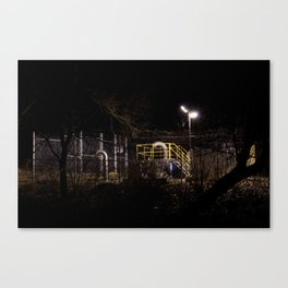 Sewer pipes at night Canvas Print