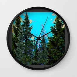 WESTERN PINE TREES MOUNTAIN GREY LANDSCAPE Wall Clock