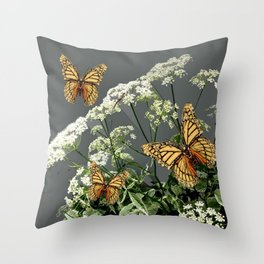 """CREAM COLORED BUTTERFLIES """"SPRING SONG"""" LACE FLOWERS Throw Pillow"""