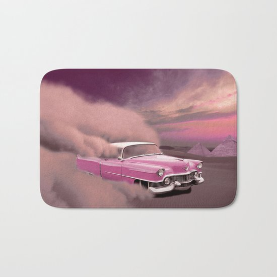 A pink cadillac and the Giza Pyramids Bath Mat