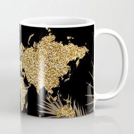 world map gold black Coffee Mug