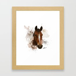Brown and White Horse Watercolor Framed Art Print