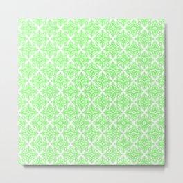 Damask (Light Green & White Pattern) Metal Print