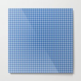 Dotted Grid Blue Metal Print