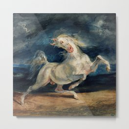 "Eugene Delacroix ""Horse Frightened by Lightning"" Metal Print"