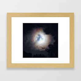 Rainbow full moon Framed Art Print